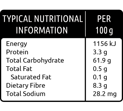 Nutritional value Capedry's Apricot & Peach Salad Barrel Range 500g